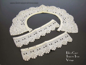 Mid 19th Century Antique Whitework Collar and Cuffs