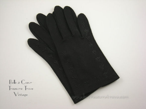 Vintage Black 4 Button Shortie Gloves
