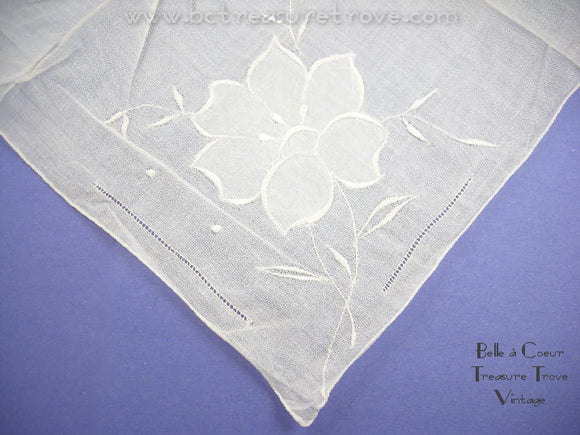 Vintage White Ladies Handkerchief with Appliqued Embroidered Flower 12098