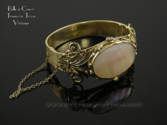 Whiting & Davis Victorian Revival Mother of Pearl Vintage Bracelet