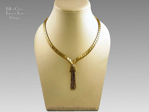 Vintage Kramer Egyptian Style Goldtone Fringe Necklace 1960/1970