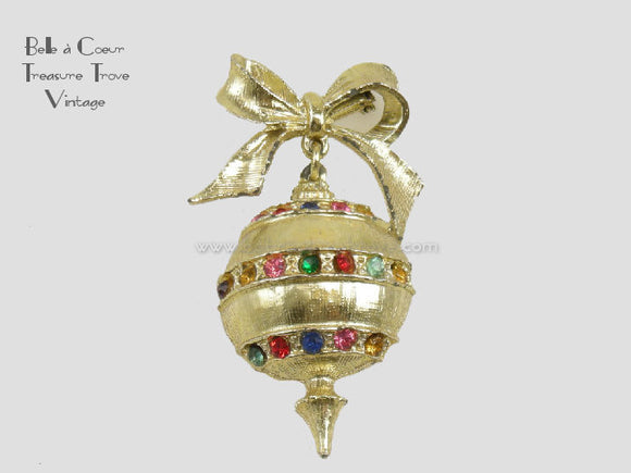Christmas Ornament Brooch Pin Vintage