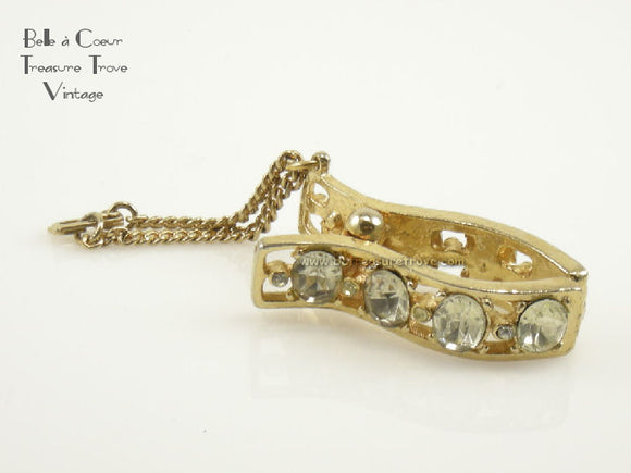 Vintage Glove Clip Holder Goldtone and Rhinestones