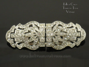 Art Deco Convertible Rhinestone Brooch Dress Clips