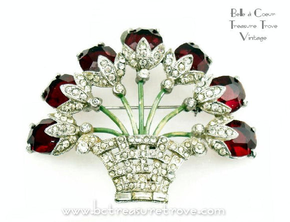 Vintage Flower Basket Brooch Ruby Red Glass Stones & Clear Rhinestones