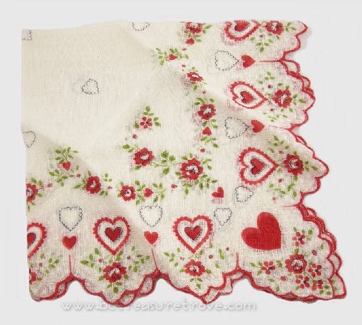 Corner Detail - Vintage Handkerchief Red Hearts & Roses 12169