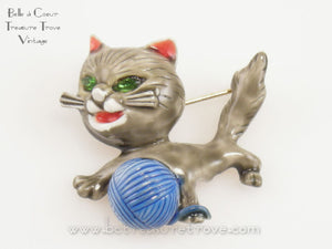 Gray Enamel Vintage Cat Brooch Signed HAR