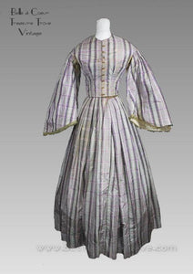 Original Civil War Era Dress 1860s Mauve Plaid Antique