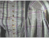 Antique Civil War Era Dress 1860s Mauve Plaid - Bodice, Sleeve Detail