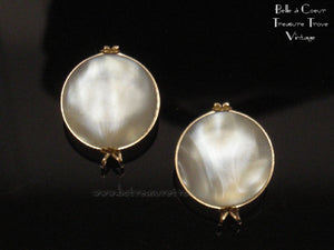 Vintage Faux Mother of Pearl Castlecraft Earrings