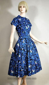 1950s Nelly Don Day Dress with Floral and Abstract Print - XS