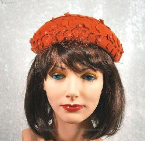 1950s Vintage Hat Burnt Orange Cocktail with Veil