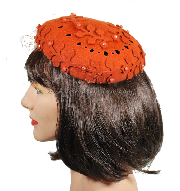 Vintage 1950s Hat Burnt Orange Leaves and Faceted Stones