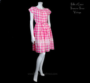 1960s Vintage Swril Wrap Dress Pink and White Check - Front