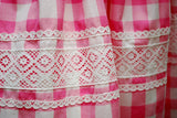 1960s Vintage Swril Wrap Dress Pink and White Check - Lace Detail on Skirt (Note the scalloped edging is not caught by top row of stitching)