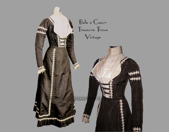 Late 1890s Brown and Ecru Silk Antique Dress