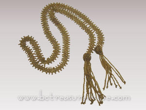 Antique Gold Glass Flapper Beads Sautoir Necklace