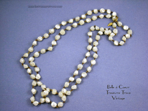 Freirich Vintage Bead Necklace Imitation Pearl