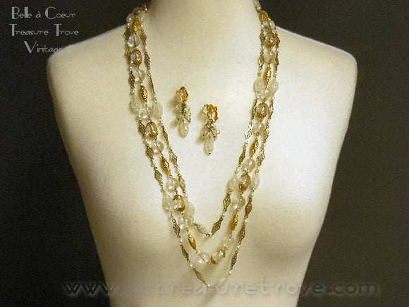 Alice Caviness Multi Strand Necklace & Dangle Earrings Demi Parure Vintage Designer