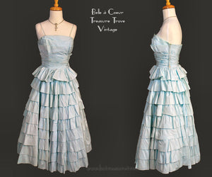 Blue Ruffled Flounced Full Circle Party Prom Dress – 1950s – XS