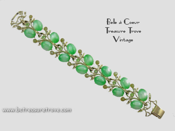 Vintage Coro Green Moonglow Bracelet