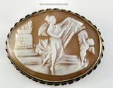 Antique Cameo Carved Shell – Harpist & Cherub – 14k Brooch