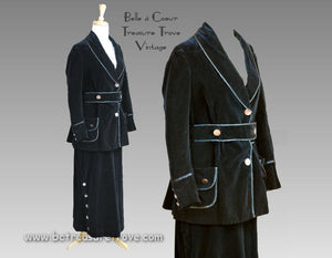 Mid 1910s Navy Blue Velvet Walking Suit - Antique Walking Dress