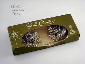 Sarah Coventry Red AB Rhinestone Fashion Flower Earrings with Original Box & Card
