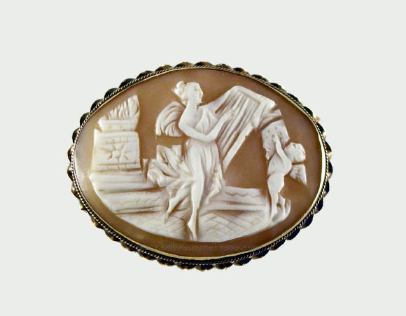 Vintage Carved Shell Cameo Pin – Harpist & Cherub – 14k