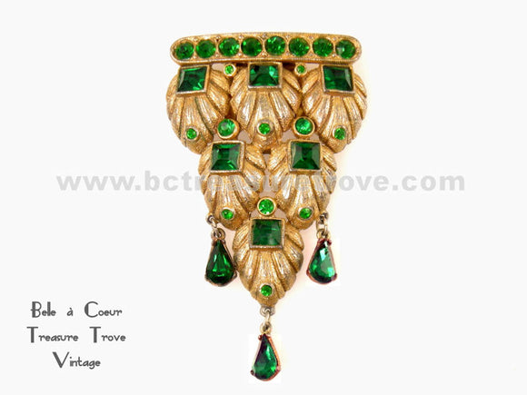 Art Deco Vintage Dress Clip with Emerald Green Stones