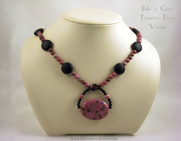 Artisan Necklace Rhodonite and Black Onyx OOAK Handmade