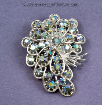Vintage Pin Signed ART© Blue Aurora Borealis Stones in Silvertone Metal Setting