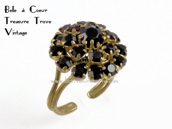 Vintage Austrian Garnet Adjustable Size Ring
