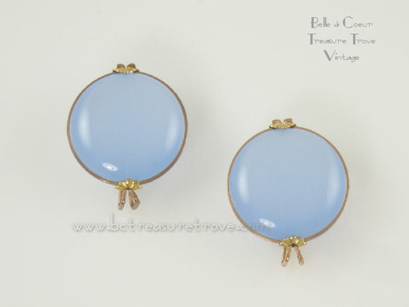 Baby Blue Moonglow Lucite Castlecraft Vintage Earrings