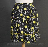 Black Yellow & White Retro Kitchen Apron Atomic Print
