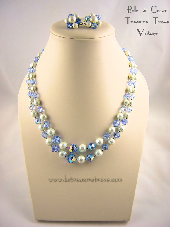 Laguna Blue AB Crystal Faux Baroque Pearl Bead Necklace Earring Set