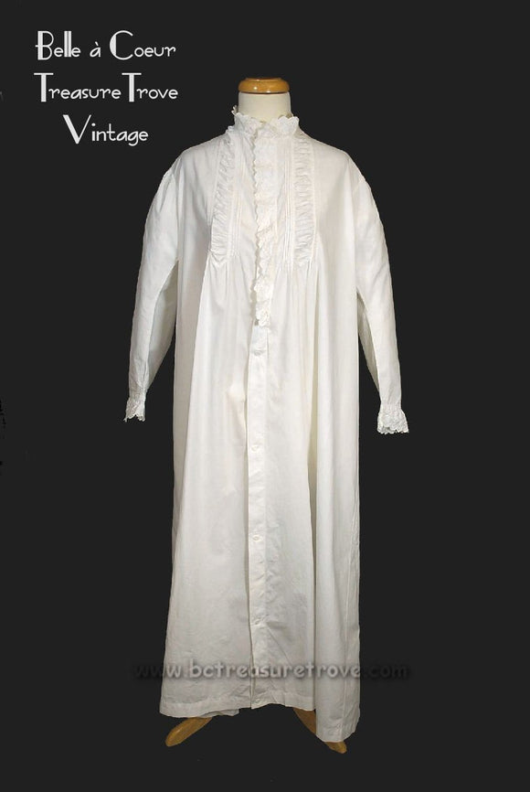 Antique Civil War Era Cotton Nightgown with Broderie Anglaise