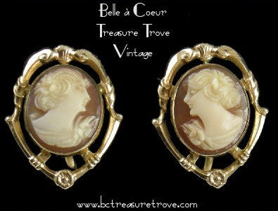 Vintage Gold Filled Cameo Earrings
