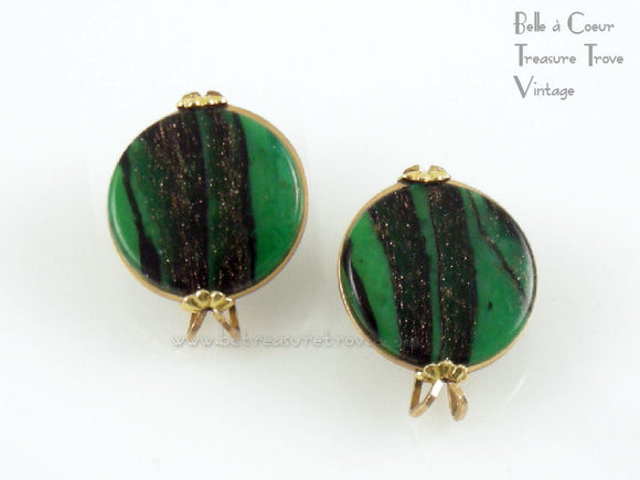 Castlecraft Green & Black Gold Fleck Faux Aventurine Earrings