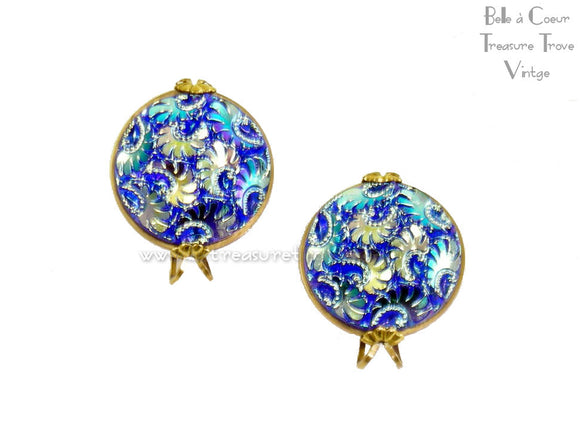Castlecraft Vintage Earrings Sapphire Blue Carnival Glass Aurora Borealis