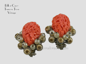 Caviness, Alice Faux Coral Pearl Brass Bead Earrings