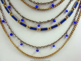 Cobalt Blue Gold Tone MultiStrand Chain Necklace Detail