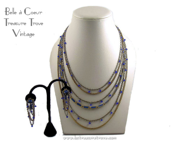 Cobalt Blue Goldtone Chain MultiStrand Vintage Necklace & Earrings Set