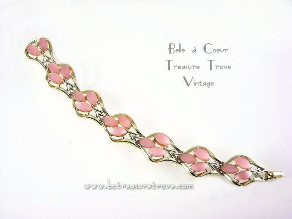 Coro Pink Moonglow Lucite Bracelet Vintage