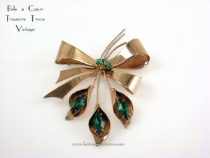 Coro Sterling Vermeil Calla Lily Bow Brooch