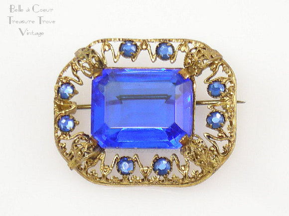 Czech Brooch Goldtone with Sapphire Blue Glass Stones
