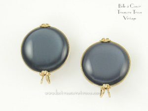 Dark Blue Moonglow Vintage Castlecraft Earrings 1