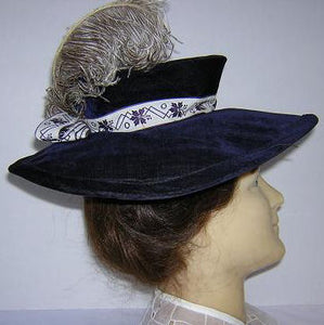 Deep Purple Velvet Victorian Hat with Ostrich Plume