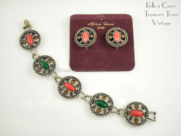 Emmons African Queen Earrings and Bracelet 15127
