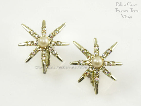 Emmons Rainbow Star Clip Earrings Vintage